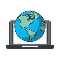 Laptop and Globe image, Send money internationally using Xompare.